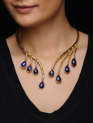 Lapiz Lazuli  Gold Tone Necklace