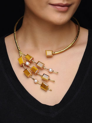 Faceted Tiger Eye and Pearl Gold Tone Necklace