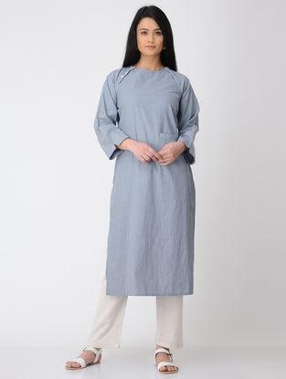 Blue Cotton Kurta with Raglan Sleeves