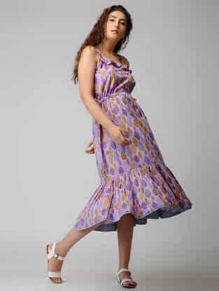 Purple Block-printed Tie-up Waist Cotton Dress