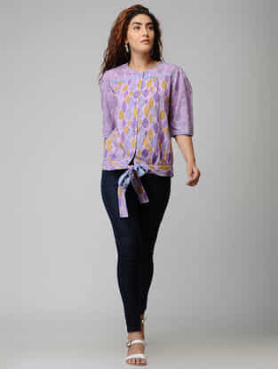 Purple Block-printed Button-down Cotton Top