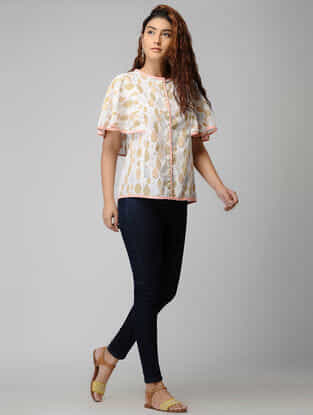 White Block-printed Button-down Cotton Top