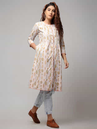 White Block-printed Pintuck Button-down Cotton Kurta