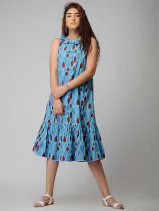 Blue Block-printed Gathered Cotton Dress