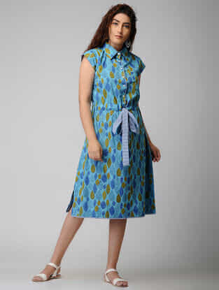Blue Block-printed Tie-up Waist Cotton Dress