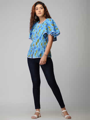 Blue Block-printed Button-down Cotton Top