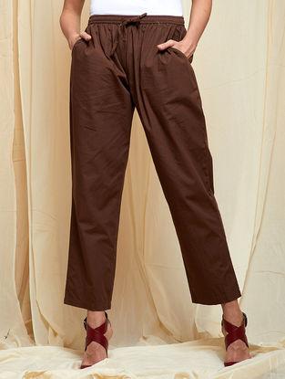 Brown Elasticated waist Cotton Pants