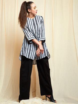 Black-Grey Block-printed Khadi Cotton Top