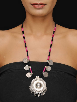 Pink-Black Thread Tribal Necklace with Coins