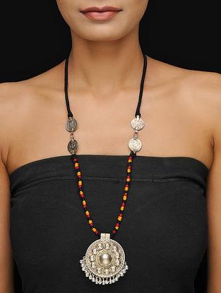 Black-Multicolor Thread Tribal Necklace