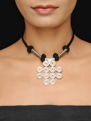 Black Thread Tribal Necklace with Floral Design