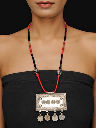 Red-Black Thread Tribal Necklace
