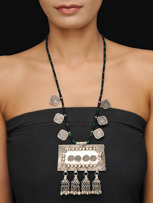 Black-Green Thread Tribal Necklace with Coins