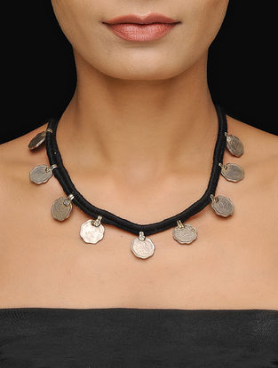 Black Thread Tribal Necklace with Coins