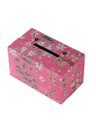 Pink Floral Printed Tissue Box