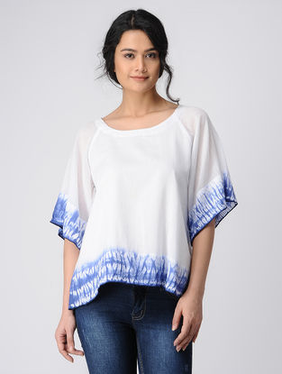 White-Blue Tie and Dye Cotton Top