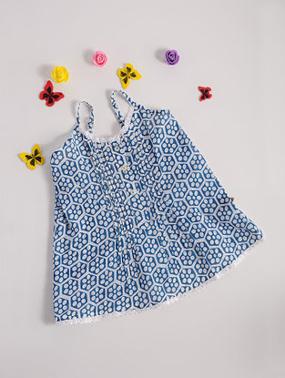 Blue Printed Cotton Spaghetti Top