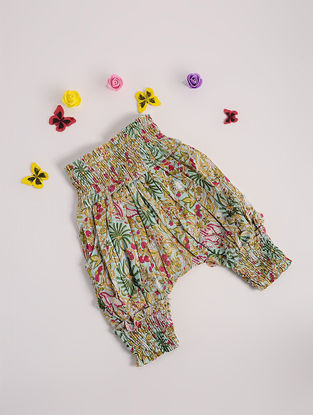 Multicolored Printed Cotton Harem Pants