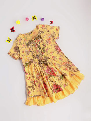 Yellow Floral Printed Cotton Dress with Frills
