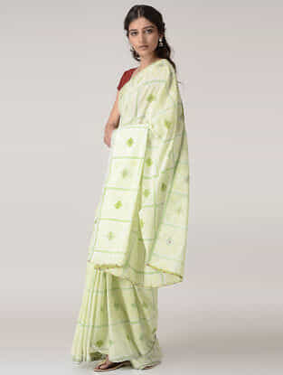 Ivory-Green Printed Cotton Saree