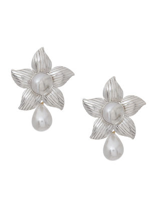 Pearl Drop Silver Earrings with Floral Design