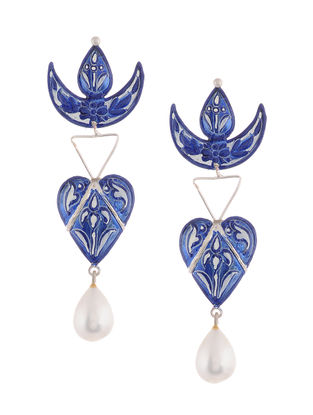 Blue-White Hand-painted Silver Earrings with Pearls