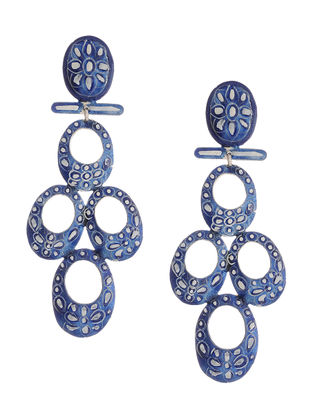 Blue-White Hand-painted Silver Earrings