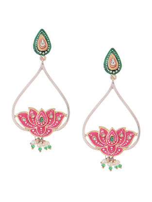 Pink-Green Hand-painted Silver Earrings with Lotus Design