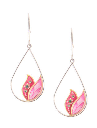 Pink Hand-painted Silver Earrings