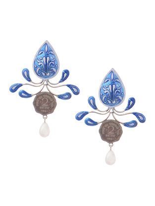 Blue-White Hand-painted Silver Earrings with Coins
