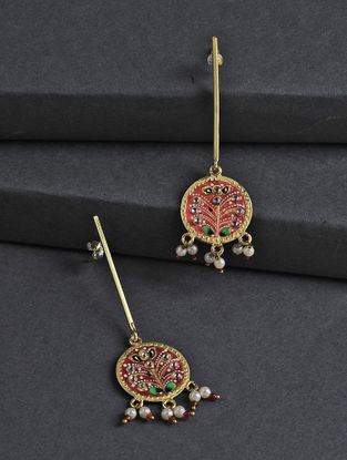 Red-Golden Hand-painted Silver Earrings with Tanjore Artwork
