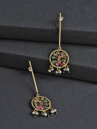 Green-Pink Hand-painted Silver Earrings with Tanjore Artwork