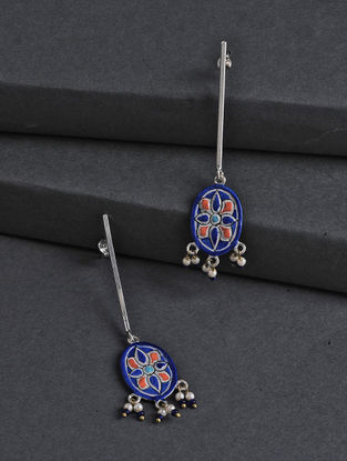 Blue-Red Hand-painted Silver Earrings