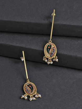 Golden-Red Hand-painted Silver Earrings with Tanjore Artwork