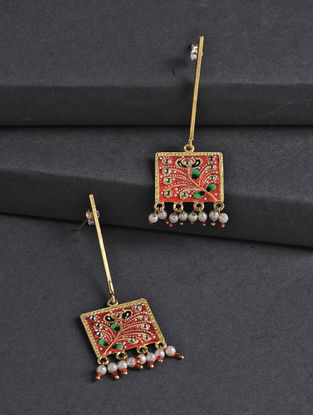 Red-Green Hand-painted Silver Earrings with Tanjore Artwork