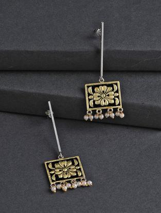 Black-Golden Hand-painted Silver Earrings