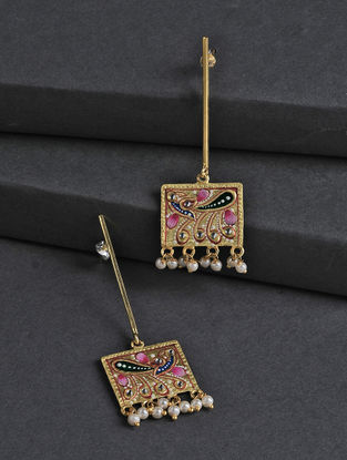 Golden-Pink Hand-painted Silver Earrings with Tanjore Artwork