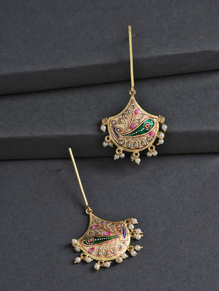 Golden-Green Hand-painted Silver Earrings with Tanjore Artwork