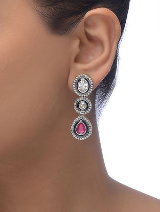 Pink-Black Gold-plated Earrings