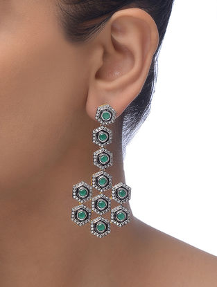Green-Black Gold-plated Earrings