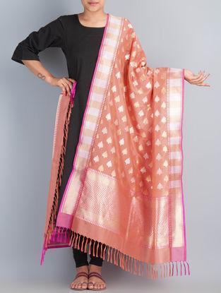 Coral-Golden Handwoven Silk Dupatta by Shivangi Kasliwaal