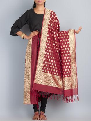 Maroon-Golden Handwoven Silk Dupatta by Shivangi Kasliwaal