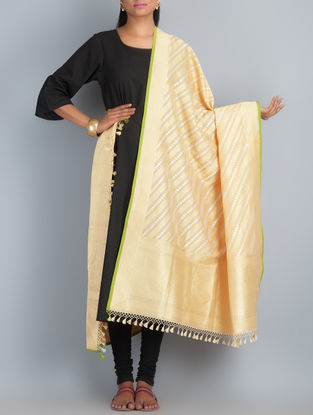 Beige-Golden Handwoven Silk Dupatta by Shivangi Kasliwaal