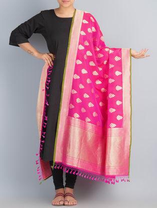 Pink-Golden Handwoven Silk Dupatta by Shivangi Kasliwaal