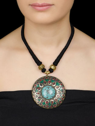 Turquoise-Coral Red Bold Necklace by Silverholic