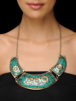Floral Turquoise Gold-Tone Beaded Necklace