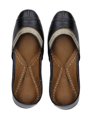 Black Handcrafted Leather Juttis with Tilla Embroidery