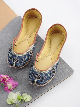 Blue-Black Handcrafted Printed Cotton and Leather Juttis