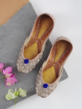 Copper Handcrafted Leather Juttis with Tilla Embroidery
