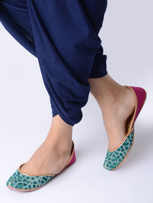 Pink-Green Block-Printed Cotton and Leather Juttis